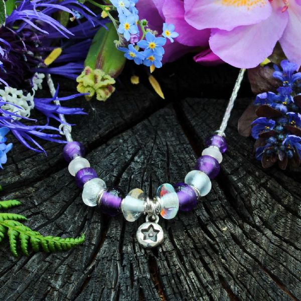 Star necklace, purple gemstones, amethyst & opalite beads no.3A